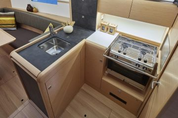 Jeanneau 34 ft. sloop interior view - galley