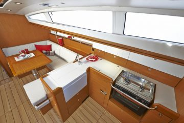 Jeanneau 41 ft. sloop interior view - salon & galley