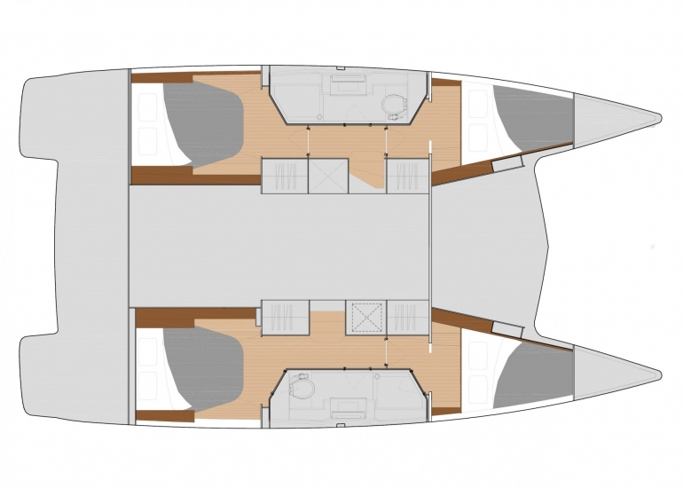 lucky cat is our newest sensational quatuor model which offers 4 double  cabins and 2 heads  spacious and comfortable both inside and out, the glass  doors